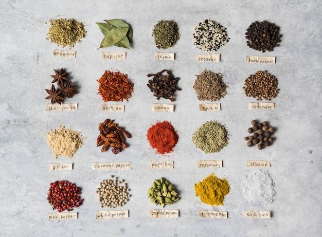 Différentes piles d'épices sèches et lettrage à plat à plat. vue de dessus