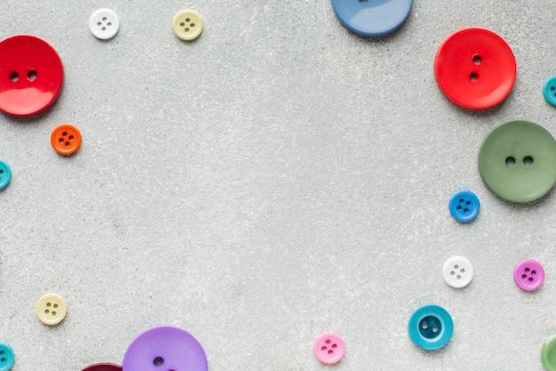 Différentes tailles de cadre de boutons colorés avec espace de copie