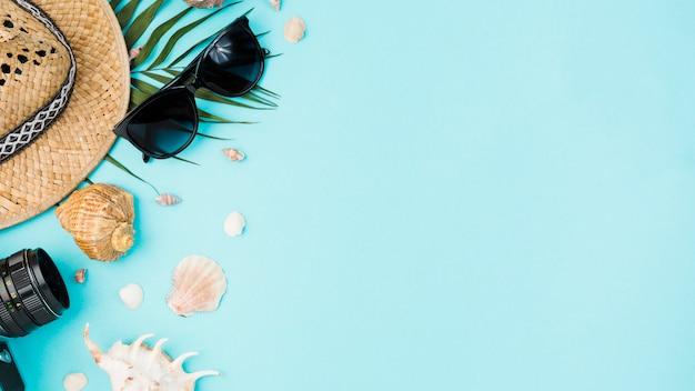 Différents accessoires parmi les coquillages et les feuilles des plantes
