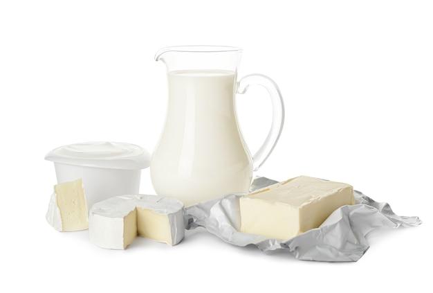 Différents produits laitiers isolés