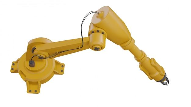 Différents robots industriels isolés sur fond blanc bras de robot rendu blanc rendu 3d avec un espace vide sur fond blanc