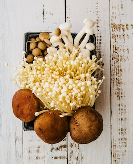 Différents types de champignons dans une caisse sur une table en bois