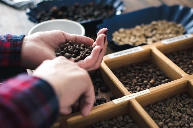 Différents types de grains de café torréfiés