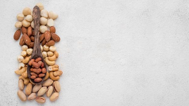 Différents types de noix et espace de copie de cuillère