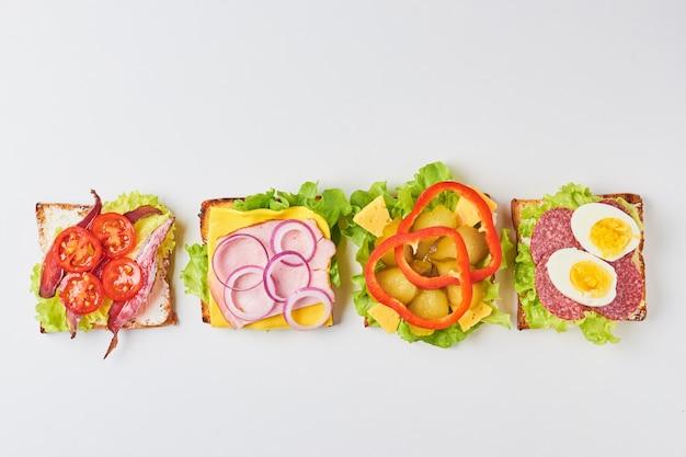 Différents types de sandwich sur fond blanc, vue de dessus