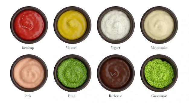 Différents types de sauce pour coupe, ketchup, moutarde, yaourt, mayonnaise, rose, pesto, barbecue, guacamole.