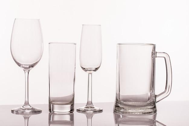 Différents verres transperents