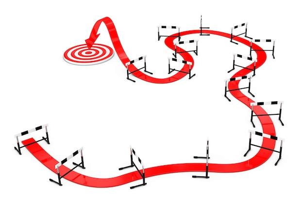 Difficile de cibler le concept. flèche vers le succès grâce à l'athlétisme obstacle sur un fond blanc. rendu 3d.