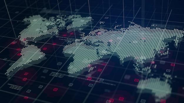 Digital world map hologram fond bleu