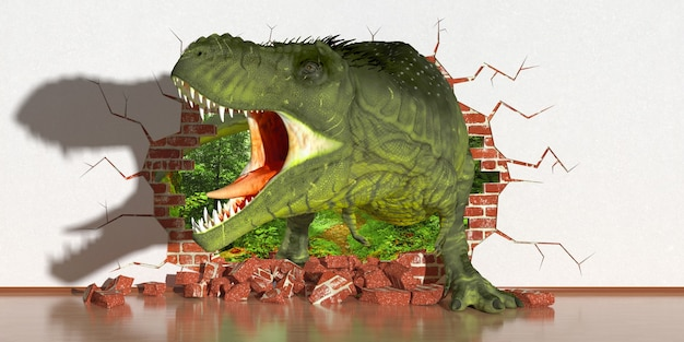 Dinosaure rampant hors d'une faille dans le mur, illustration 3d