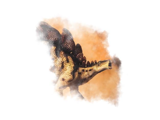 Dinosaure stégosaure sur fond de fumée