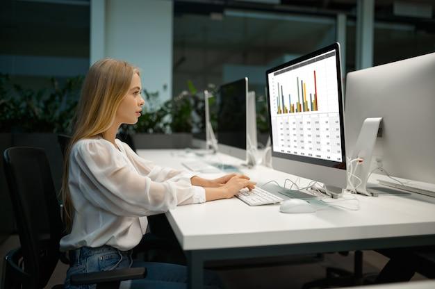 Le directeur féminin travaille sur l'ordinateur, le bureau informatique