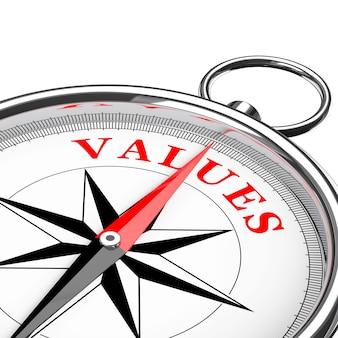 Direction aux valeurs boussole conceptuelle gros plan sur un fond blanc. rendu 3d