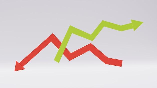 Direction de la ligne de flèche en zigzag rouge et verte dans la tendance haussière et baissière isolée sur fond blanc. concept de croissance de l'entreprise, prévisions statistiques, bénéfice financier, évolution des stocks. rendu 3d