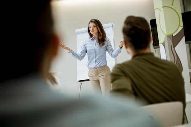 Dirigeante créative et positive parlant du plan d'affaires avec les étudiants lors d'un atelier