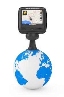 Dispositif gps de navigation et de positionnement global avec avec la carte de la ville de navigation sur l'écran au-dessus du globe terrestre sur un fond blanc. rendu 3d