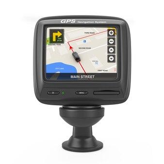 Dispositif gps de navigation et de positionnement global avec la carte de la ville de navigation sur l'écran sur un fond blanc. rendu 3d