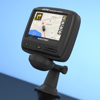 Dispositif gps de navigation et de positionnement global avec la carte de la ville de navigation sur l'écran sur un fond bleu. rendu 3d