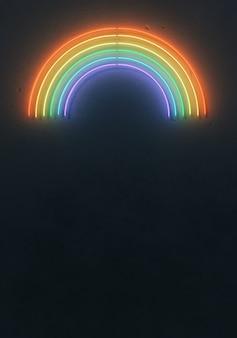 Disposition arc-en-ciel de couleur fluorescente créative faite de tubes néon