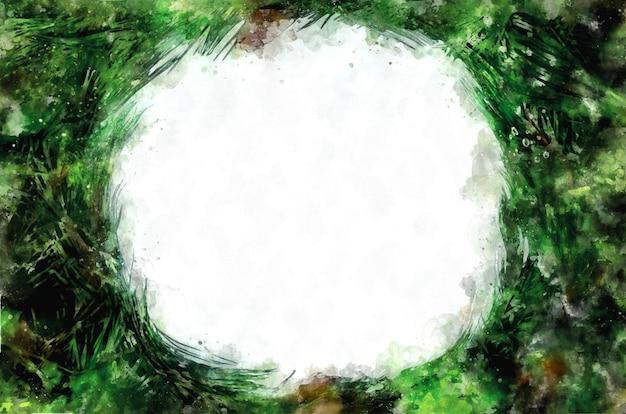 Disposition de branche d'arbre de noël à l'aquarelle, espace de copie. cadre de noël pour le texte. carte-cadeau concept, affiche de vacances, salutations