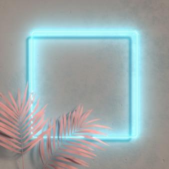 Disposition de couleur fluorescente créative faite de feuilles tropicales