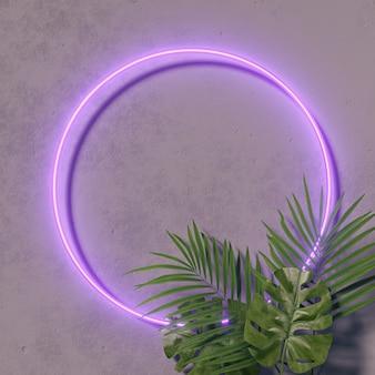 Disposition créative de couleur fluorescente faite de feuilles tropicales. couleurs néon ultraviolet à plat