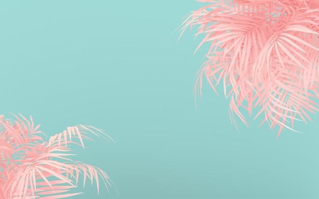 Disposition créative de couleur fluorescente faite de feuilles tropicales roses. couleurs néon pastel à plat