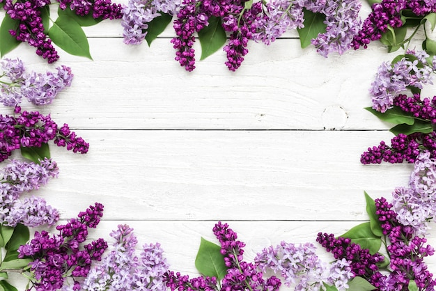 Disposition créative faite avec des fleurs lilas de printemps sur fond en bois blanc. mise à plat. vue de dessus