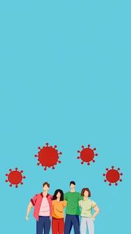 Disposition du papier fait coronavirus et famille