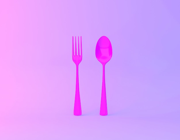 Disposition de l'idée créative faite de cuillères et fourchettes en arrière-plan vibrant de couleurs holographiques violet et bleu dégradé.