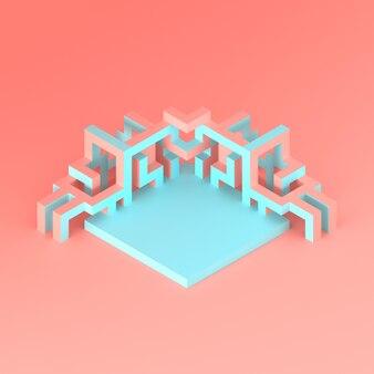 Disposition isométrique abstraite d'une illustration 3d de cube en expansion
