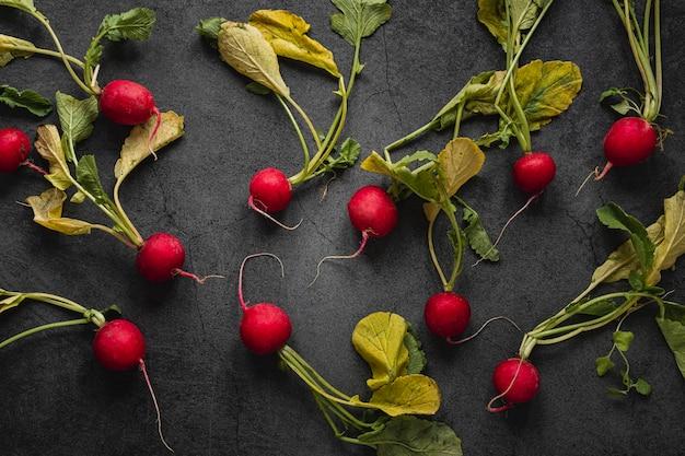 Disposition à plat de radis avec des feuilles