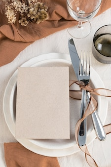Disposition de la table vue de dessus