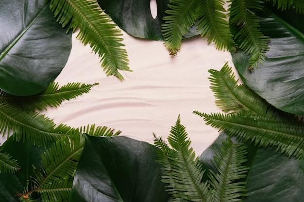 Disposition tropicale faite de feuilles de palmier avec espace copie sur fond de sable. mise à plat.