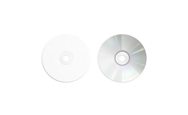 Disque compact blanc vierge maquette, isolé, vue de dessus
