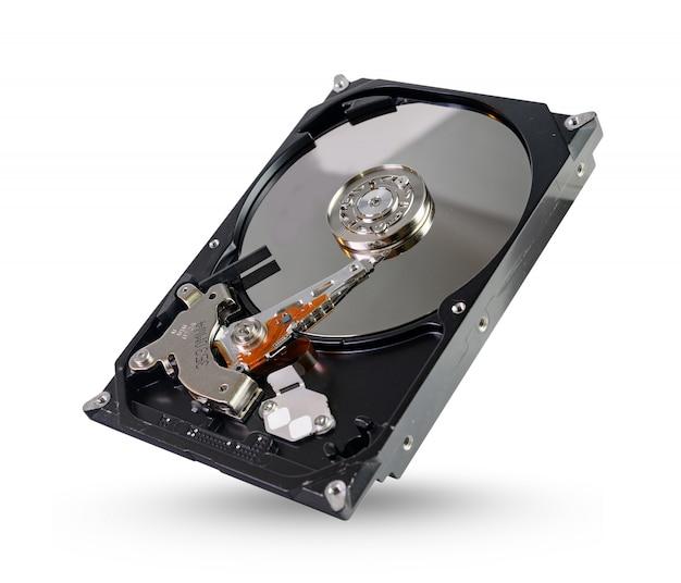 Disque dur, disque dur, lecteur avec sata 6 gb isolé sur fond blanc avec un tracé de détourage