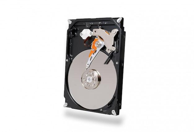 Disque dur, disque dur, lecteur avec sata 6gb isolé sur fond blanc avec un tracé de détourage