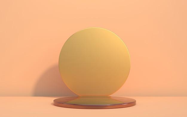 Disque en verre 3d pour afficher des marchandises dans des tons beiges, rendu 3d