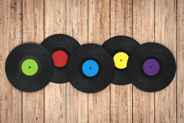 Disque vinyle coloré rendu 3d