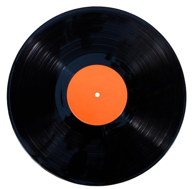 Disque vinyle gramophone isolé à la surface blanche avec un tracé de détourage