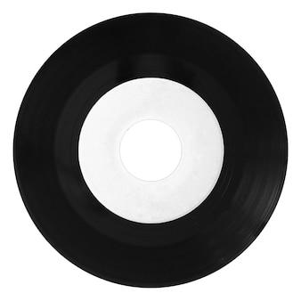 Disque vinyle isolé avec étiquette blanche