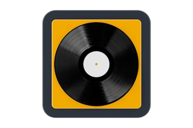 Disque vinyle noir comme bouton d'icône web de point de contact sur un fond blanc. rendu 3d