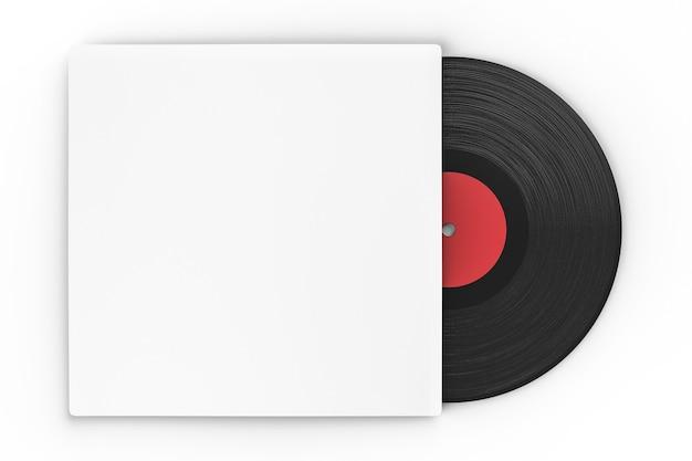 Disque vinyle noir en étui papier sur fond blanc