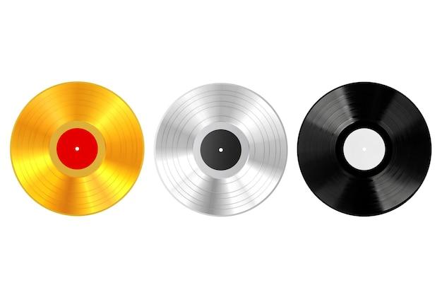 Disque vinyle en or, argent et plastique avec étiquettes vierges sur fond blanc. rendu 3d