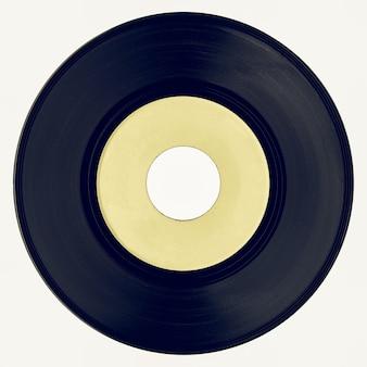 Disque vinyle vintage avec étiquette jaune