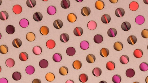 Disques colorés en rotation. illustration abstraite, rendu 3d.