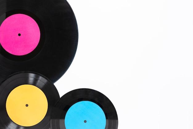 Disques vinyles vue de dessus avec espace de copie