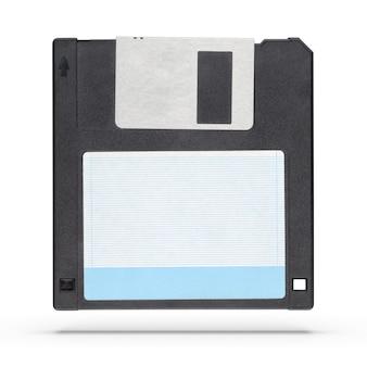 Disquette ou disquette noire de 3,5 pouces isolée sur fond blanc