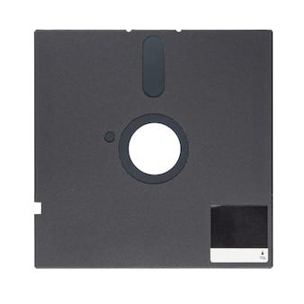 Disquette ou disquette noire de 5,25 pouces isolée sur fond blanc