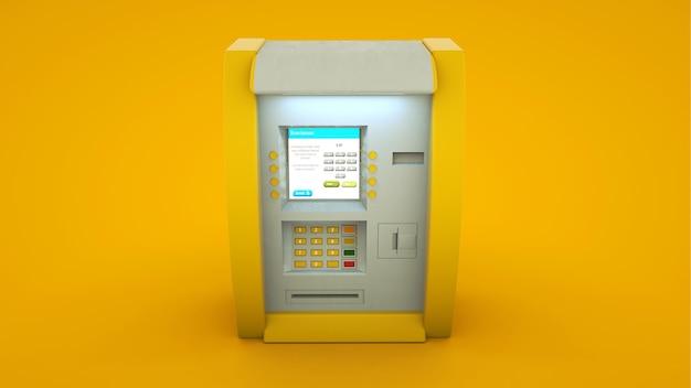 Distributeur de billets de banque atm isolé sur fond jaune - illustration 3d.